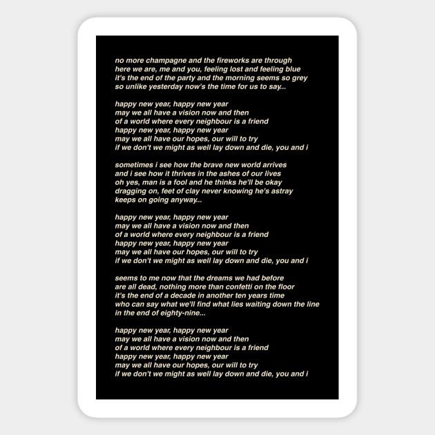 Abba Happy New Year Song Lyrics Abba Sticker Teepublic Au