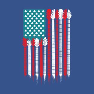 4916cdbd Patriotic Guitar American US Flag Rock Bass Electric T-Shirt