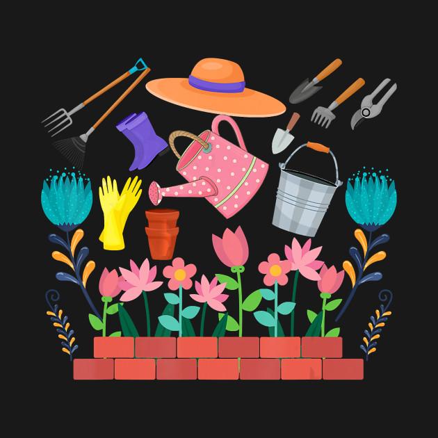 Gardener Gift Retro Garden Tools Gardening T Shirt