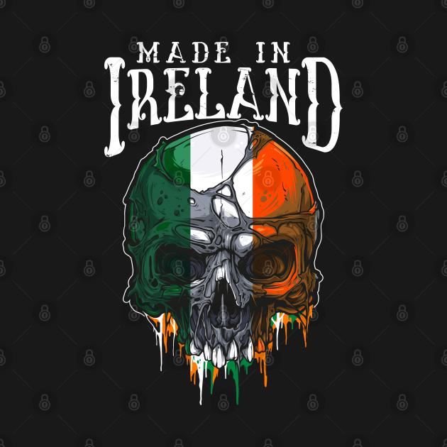 made in ireland irish flag skull design
