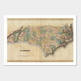 North carolina map posters and art prints teepublic vintage map of north carolina 1823 posters and art gumiabroncs Image collections