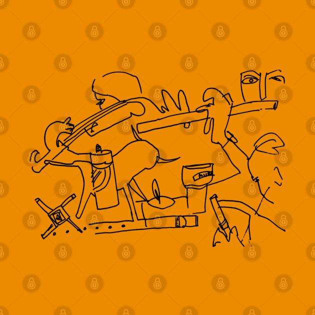 irish traditional music session line art doodle