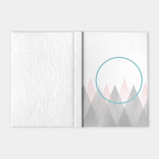 Minimal Abstract Graphic Mountains Circle Blue Mint Pink Gray