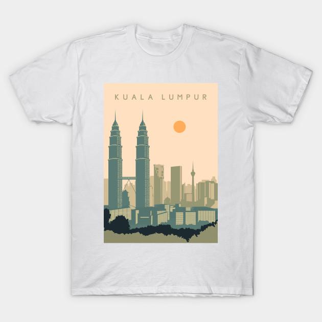 Kuala Lumpur Vintage City Adult Tri-Blend V-neck T-shirt