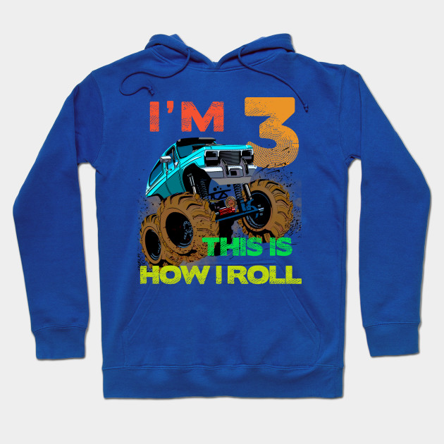 Monster Truck Kids Tee I'M 3 LET'S ROLL T-Shirt 3nd Birthday