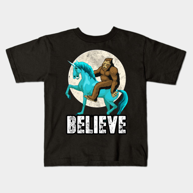 a017a3c1 Bigfoot Riding Unicorn T Shirt Funny Sasquatch Vintage Tees Kids T-Shirt