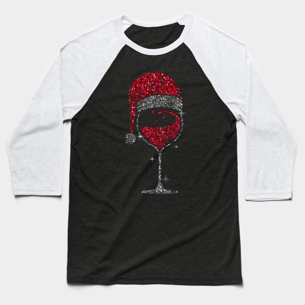 Wine Glass Christmas Wineglass Christmas Baseball T-Shirt