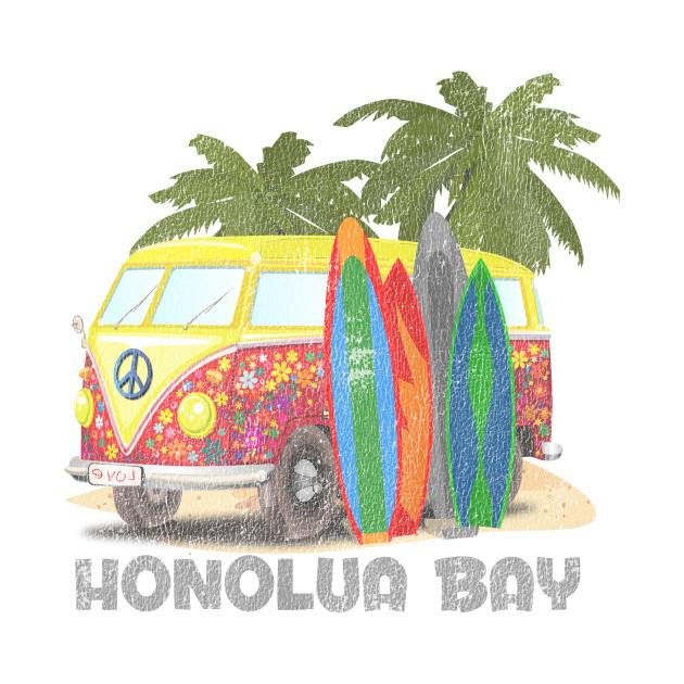 Honolua Hawaii Retro Surfing Distressed