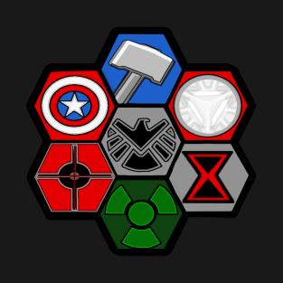 Avengers Assemble - SHIELD, Iron Man, Thor, Black Widow, Hulk, Cap America, Hawkeye t-shirts