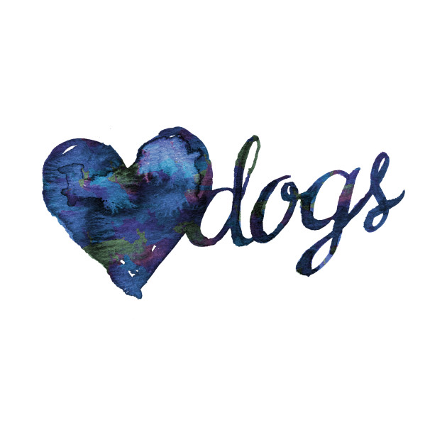 Love Dogs Watercolor - Blue
