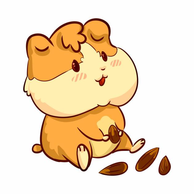 the fat cartoon hamster eats grain