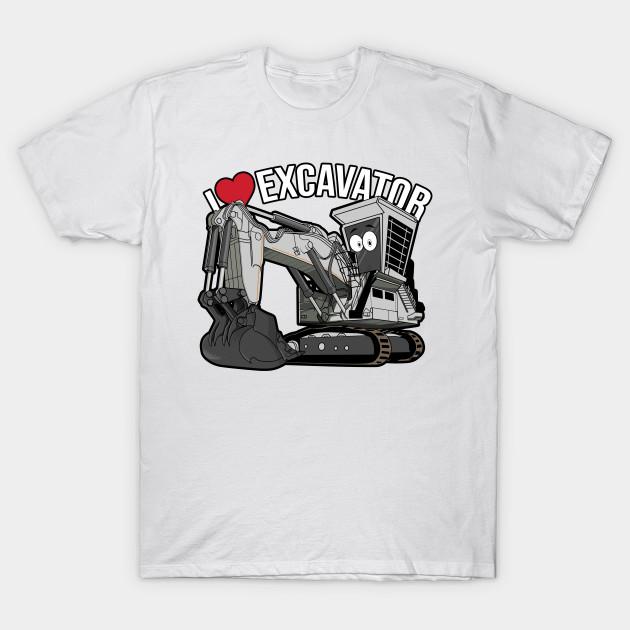 9434f546 I LOVE EXCAVATOR KAWAII - Excavator - T-Shirt   TeePublic