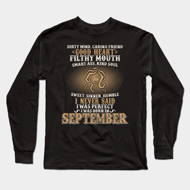Funny September Shirts For Men Virgo Birthday Long Sleeve T Shirt