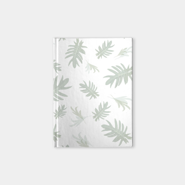 Autumn Fall Tropical Palm Leaves Pattern Gray On White Leaves Notebook Teepublic Watercolor tropical leaves clip art set includes: teepublic