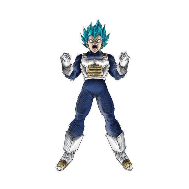 Vegeta, Super Saiyan God - Colored