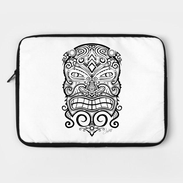 32f6b20c589e2 Tiki Mask Tattoo - Tiki Tiki - Laptop Case   TeePublic