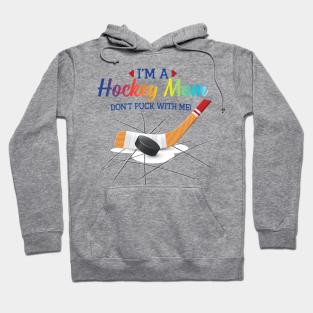 Hockey Mom Parent Mother Mommy Child Kid Sticks Puck Two Tone Hoodie Sweatshirt