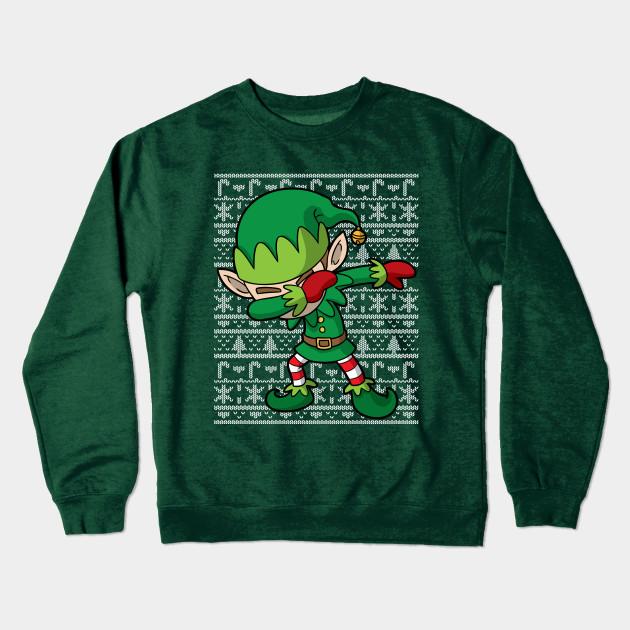 67420bbf Dabbing Elf Ugly Christmas Sweater - Christmas Elf - Crewneck ...