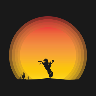 Cowboy at Sunset in silhouette t-shirts