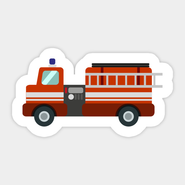 Fire Truck Funny Nursery Cartoon Drawing Design Fire Truck Sticker Teepublic