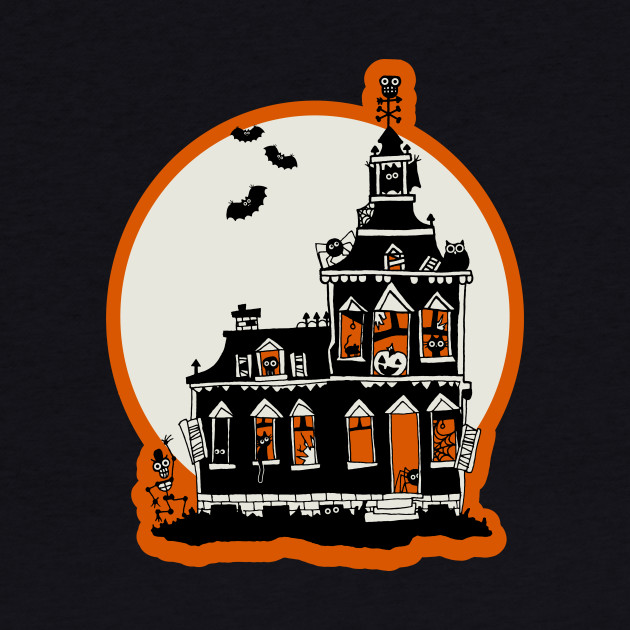 Vintage Style Haunted House - Happy Halloween