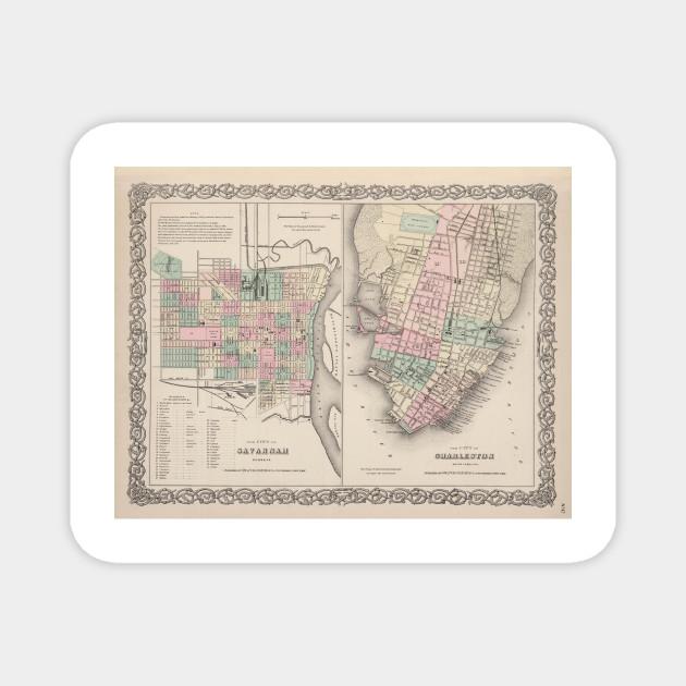 Vintage Map Of Savannah Ga And Charleston Sc 1886 Savannah Georgia Magnet Teepublic
