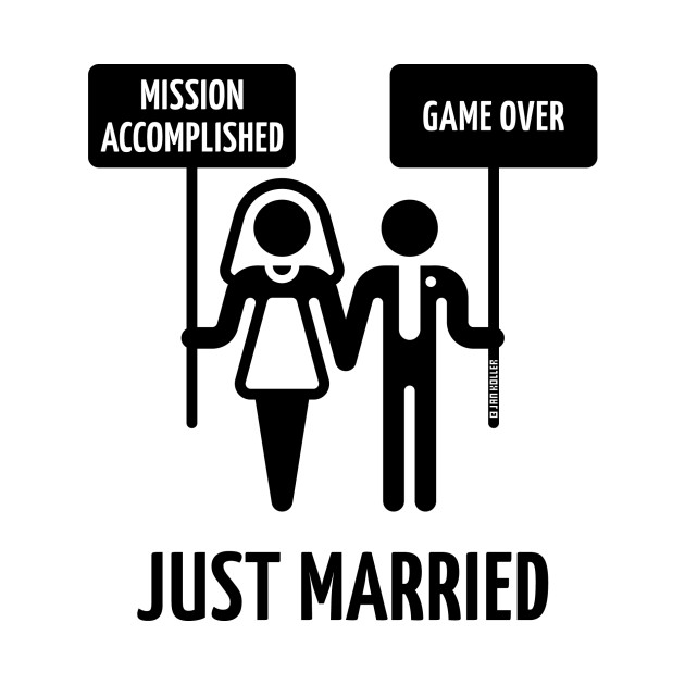 just married  u2013 mission accomplished  u2013 game over  wedding    black  - wedding