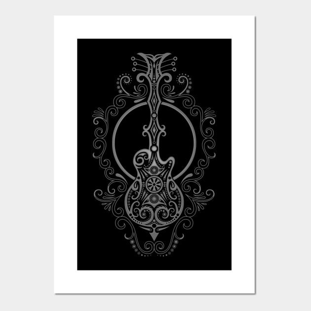 Intricate Dark Electric Guitar Design Guitar Posters And Art Prints Teepublic Uk