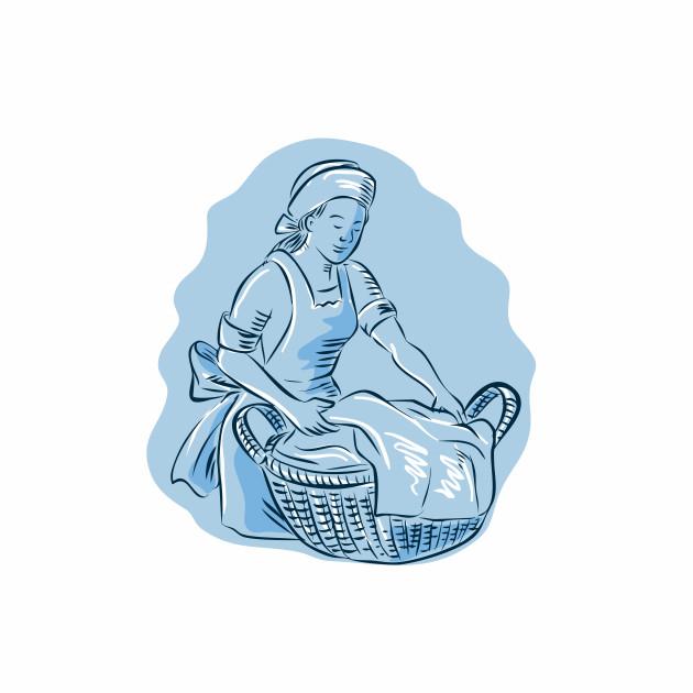 Laundry Maid Basket Vintage Etching