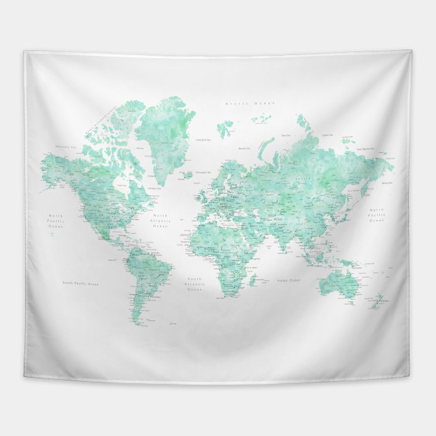 Mint Watercolor World Map Detailed Desie World Map Tapestry