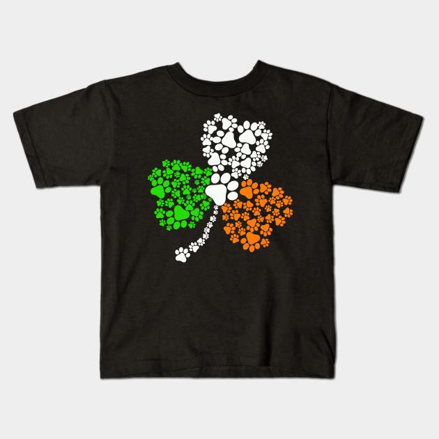 bcc7591d5 Dog Paw Print Irish Flag Shamrock St Patricks Day T-Shirt - Dog Paw ...