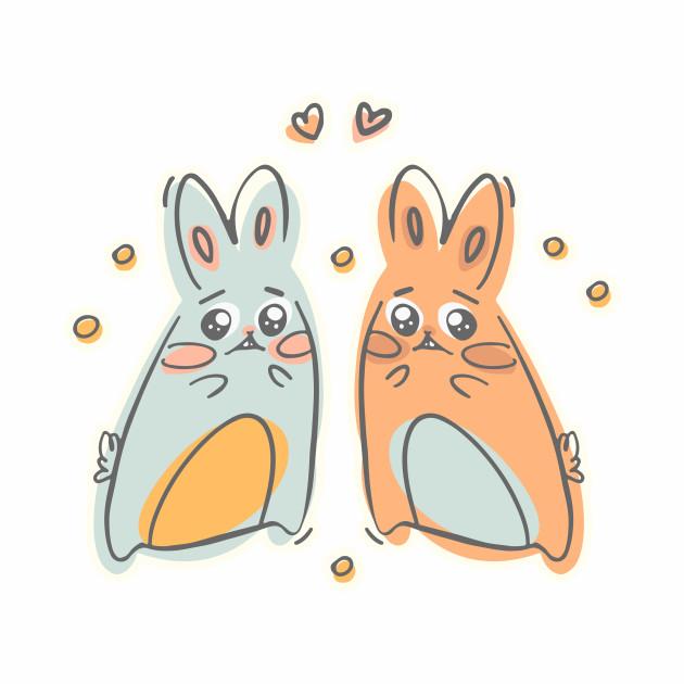 Kawaii cute bunnies with hearts