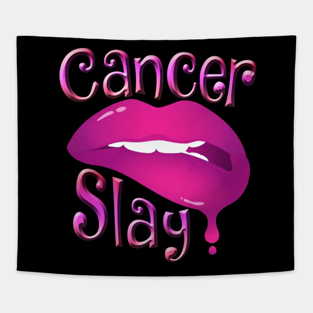 Zodiac Cancer Slay Pink Lips Tapestry