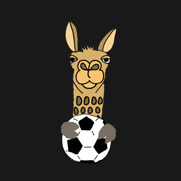 Cool Funky Llama with Soccer Ball