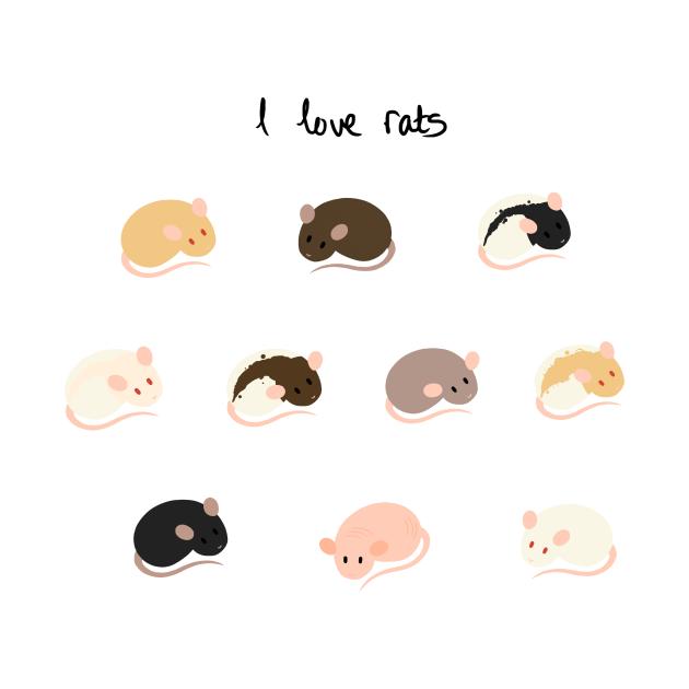 I Love Rats Sticker Sheet