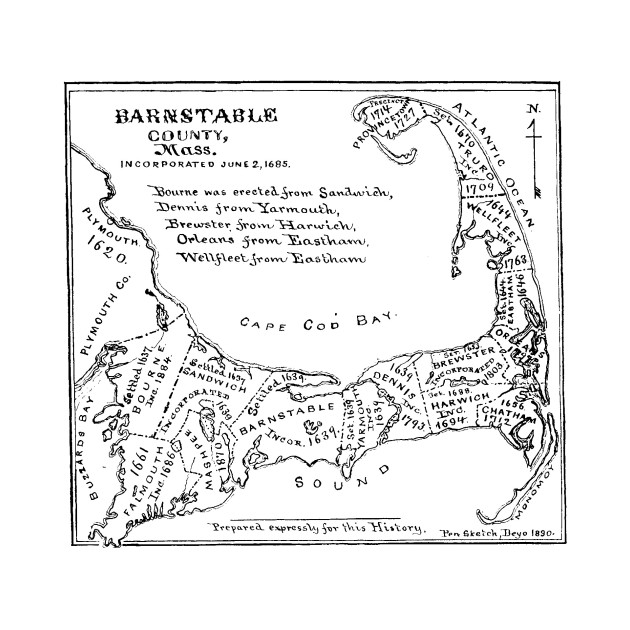 Vintage Map of Cape Cod (1890)