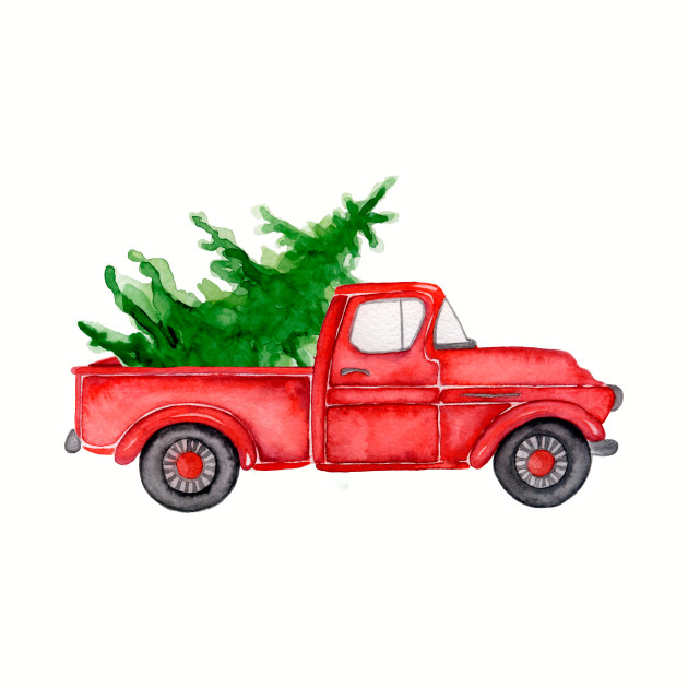 Red Christmas Truck.Red Truck Merry Christmas Tree Vintage Red Pickup Truck