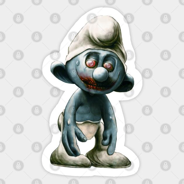 Smurf Zombie Cartoon Funny Smurf Zombie Sticker Teepublic