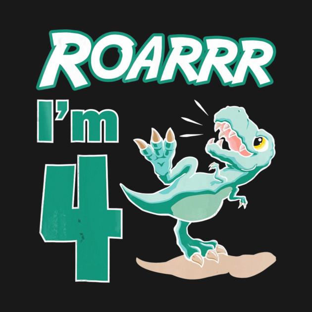4th Birthday Shirt Boy 4 Year Old Kids Dinosaur Gi