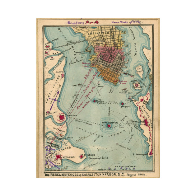 Vintage Charleston SC Civil War Map 1865 Charleston Map T