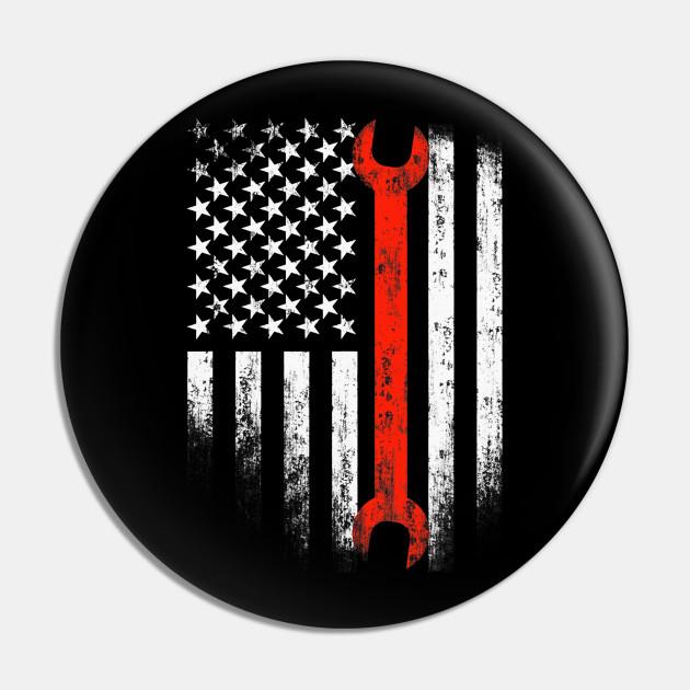 American Flag Mechanic Wrench Patriotic Auto Techs Motor