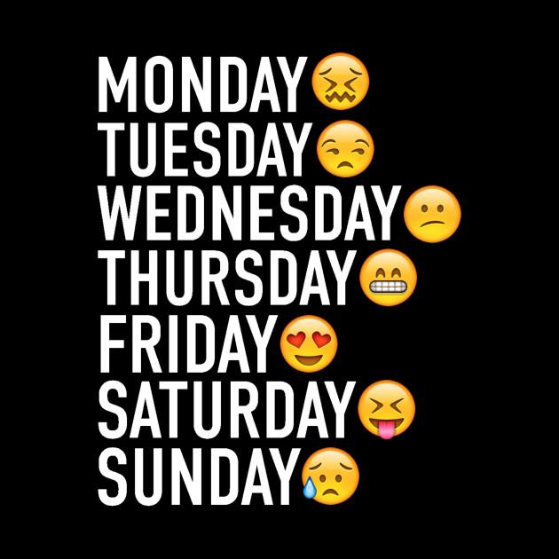 Days Of The Week Expressed Through Emojis White Emoji