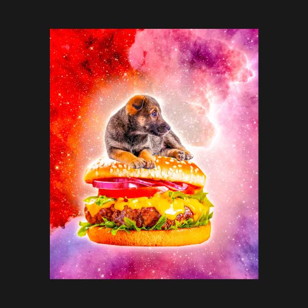 Outer Space Galaxy Dog Riding Burger