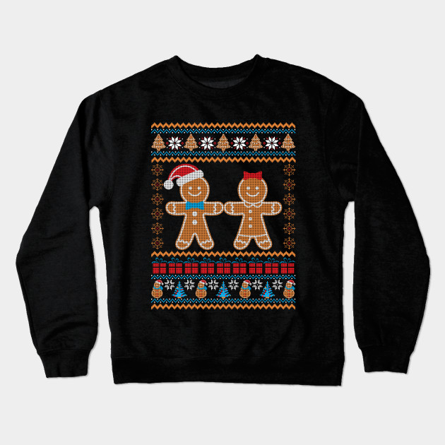 Gingerbread Couple Ugly Christmas Sweater Funny Holiday Crewneck Sweatshirt