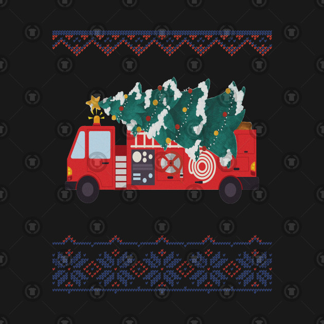 34627319b1ca7 Firefighters Ugly Christmas T Shirt - Fire Truck XMas Tree ...