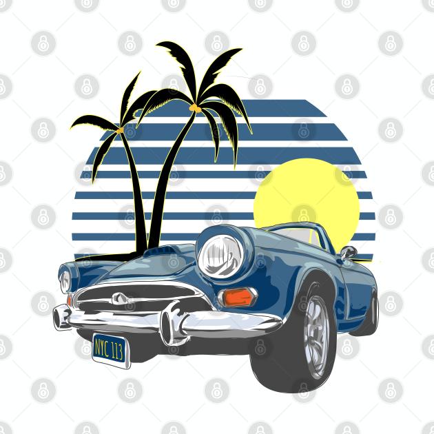 vintage slogan with vintage car summer