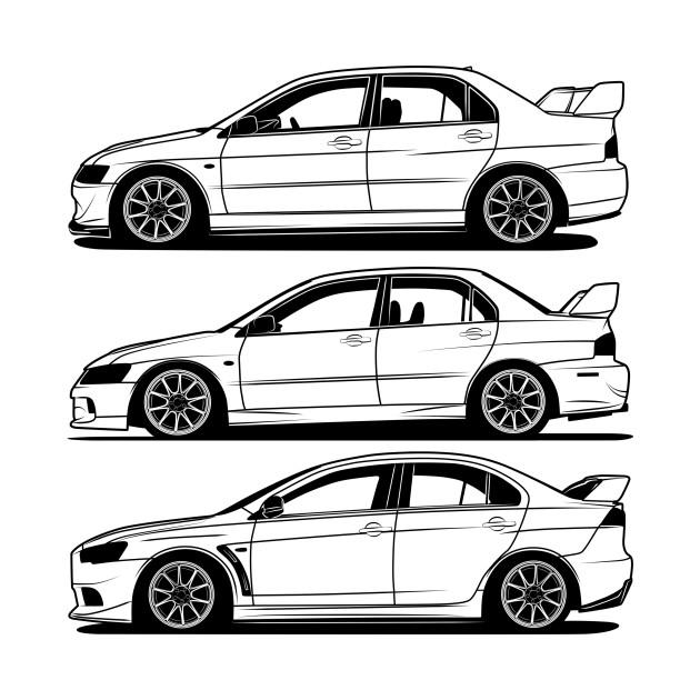 Mitsubishi Lancer Evolution Generations Best Shirt Design