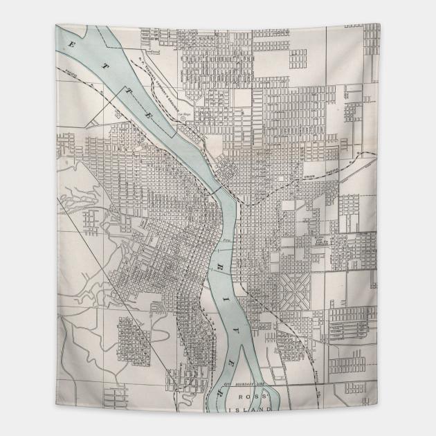 Vintage Oregon Map.Vintage Map Of Portland Oregon 1901 Portland Map Tapestry
