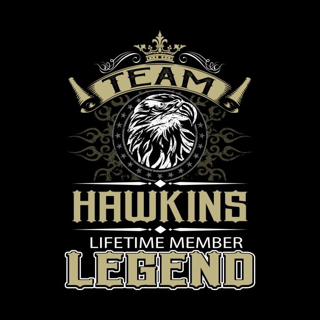 Hawkins Name T Shirt - Hawkins Eagle Lifetime Member Legend Name Gift Item Tee
