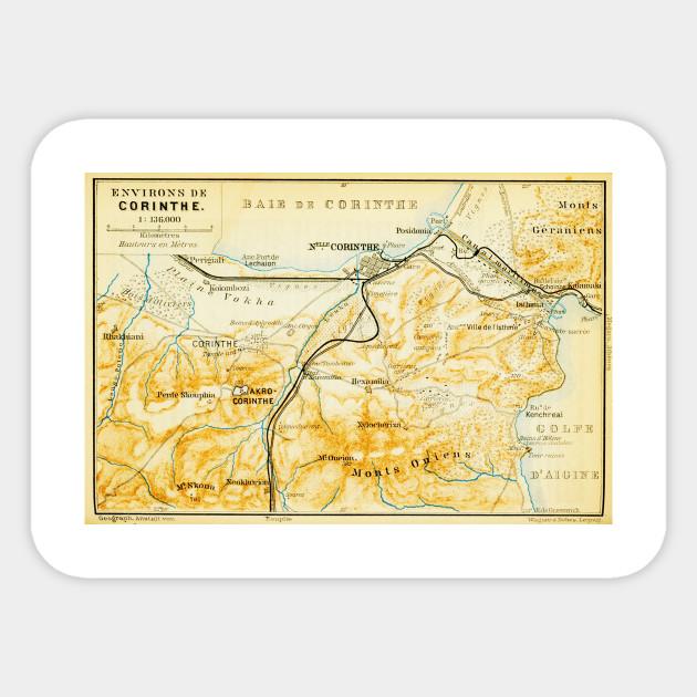 Vintage Map Of Corinth Greece 1894 Corinth Map Sticker Teepublic